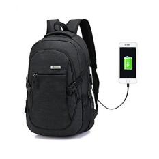 Ransel Laptop Ransel Hoperay Bisnis Ringan Nilon Air Tahan Serbaguna Bahu Ransel Buku Catatan dengan USB Pengisian Port Dibawah 17- inci Laptop dan Buku Catatan (Hitam) -Internasional