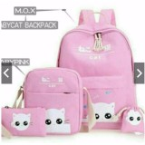 Obral Backpack Ransel 4In1 Canvas Cat Tas Laptop Sekolah Kuliah Kerja Anak Remaja Cewe Wanita Murmer Murah