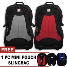 Bag & Stuff PoloWater Outdoor Duotones Laptop Raincover Backpack Up To 14 Inch + FREE Mini HP Pouch Slingbag Random Model / Tas Pria / Tas Wanita / Tas Laptop / Tas Sekolah / Ransel Pria / Ransel Wanita / Ransel Sekolah / Ransel Murah