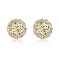 BallucciToosi Round Earrings-14 K Solid Kuning Emas Kecil Anting Unik dengan Cubic Zirkonia dan Screw Back-Perhiasan untuk Bayi Perempuan dan Womens-Intl