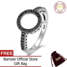 Bamoer Gratis Shpping 100% Asli 925 Perak Berkilau Hitam Selamanya Bening CZ Cincin Jari Bulat untuk Wanita Perhiasan Perak Autentik SCR112