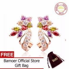 Tips Beli Bamoer 18 K Emas Emas Disepuh Emas Bunga Stud Earrings Dengan Multicolor Aaa Zircon Stone Ulang Tahun Hadiah Perhiasan Jie019 Yang Bagus