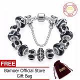 Spek Bamoer 925 Silver Black Crystal Bead Charm Bracelet Dengan Rantai Pengaman Untuk Wanita Rusia Brazil Perhiasan Pa1444 Tiongkok