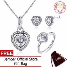 BAMOER 925 Sterling Silver Jewelry Set Sparkling Cinta Jantung Perhiasan Set Wedding Pertunangan Perhiasan Hari Valentine