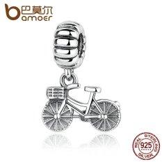 BAMOER 925 Sterling Silver Lovely Sepeda Charms Fit DIY Gelang Pesona Lucu untuk Bayi & Wanita Perhiasan PAS327