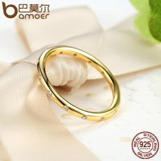 Spesifikasi Bamoer 925 Sterling Silver Tetesan Stackable Ring Dipoles 14 K Emas Cz Asli Fine Jewelry 6 7 8 9 Ukuran Pa7141 Terbaru