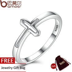 BAMOER Asli 100% 925 Sterling Silver Simbol Iman Cross Cincin untuk Women Luxury Fashion Jewelry SCR033