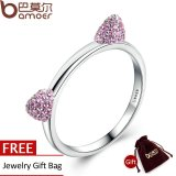 Toko Bamoer Otentik Nyata 100 925 Sterling Silver Cute Cat Telinga Pink Cz Cincin Untuk Women Pernikahan Perhiasan Scr036 Bamoer Online
