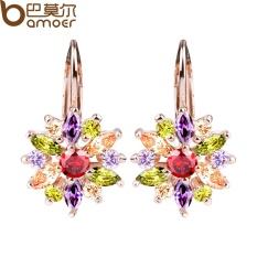 Bamoer JIE042 Jual Seksi 3 Warna Gold Warna Stud Anting-Anting dengan Warna-warni AAA Zirkon untuk Wanita Perhiasan-Internasional