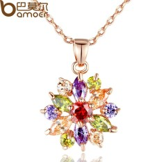 Bamoer JIN024 Seksi Jual Gold Warna Bunga Necklaces Pendants dengan Kualitas Tinggi Kubik Zirkon untuk Wanita Hadiah Ulang Tahun-Internasional