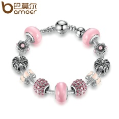 BAMOER PA1456 Silver Charm Bracelet & Bangle with Royal Crown Charm and Crystal Ball White Beads for Women Drop Shipping - intl