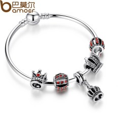 BAMOER PA3067 Simple Silver Charm Bangle & Bracelet with Royal Crown Pendant & Red Crystal Ball Dropshipping - intl