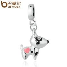 Bamoer PA5328 Warna Perak Merah Muda Jantung Anjing Animal Pendants Pesona Sesuai Gelang Kalung Wanita Manik-manik Lucu & Pembuatan Perhiasan- internasional