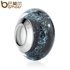 Bamoer PA6369 Hotsale Warna Perak Hitam Eropa Murano Kaca Manik Sesuai Gelang & Kalung Modis Perhiasan Grosir-Internasional