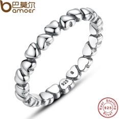 Bamoer PA7108 Asli 925 100% Polos Sterling Perak Selamanya Cinta Jantung Jari Lingkaran Asli Perhiasan Hadiah Hari Valentine- internasional