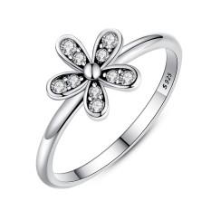 Bamoer PA7123 Dua Warna Modis Elegan Asli 925 Sterling Perak Menyilaukan Bunga Aster Bunga Cincin Bening CZ Pernikahan Perhiasan-Internasional