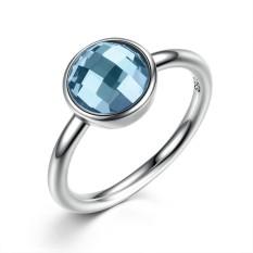 Bamoer PA7183 Koleksi Musim Panas Murni 925 Sterling Perak Cincin Biru Ditiru Batu Jari Cincin Wanita Runcing Perhiasan-Internasional