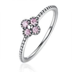 Bamoer PA7197 2 Warna 100% 925 Sterling Perak Merah Muda & Putih Bening CZ Romantis Semanggi Lingkaran Wanita Modis Perhiasan- internasional