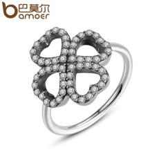 Bamoer PA7216 16 Mm Jantung Semanggi Warna Perak Jari Cincin 3 Ukuran Grosir Murah Cincin untuk Wanita Modis Perhiasan internasional