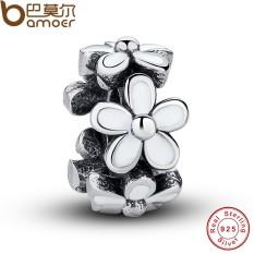 Bamoer PAS144 Darling Bunga Aster Pengatur Jarak, enamel Putih Lucu Hangat Hadiah Mantra Sesuai Asli Gelang Kalung Murni 925 Perak Manik-manik-Internasional