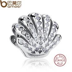 Bamoer PAS225 925 Sterling Perak Ariel Cangkang Kristal Pesona Sesuai Gelang & Kalung Perhiasan Aksesoris-Internasional