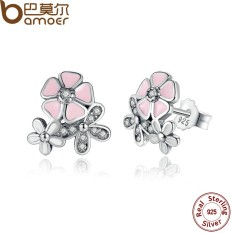 BAMOER PAS461 925 Sterling Silver Poetic Daisy Cherry Blossom Drop Earrings Mixed & Clear CZ Pink Flower Women Engagement - intl
