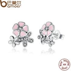 Bamoer PAS461 Hot Jual 925 Perak Berkilau Puitis Ceri Bunga Ester Blossom Anting Bulat Berwarna Merah Muda Bunga Wanita Pernikahan-Intl