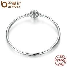 Bamoer PAS915 Otentik 925 Perak Berkilau Mengukir Kepingan Salju Gesper Unik Seperti Kamu Adalah Ular Gelang Rantai & Perhiasan Gelang DIY-Intl