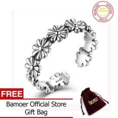 Bamoer Perak Murni Bunga Bunga Terbuka Yang Dapat Disesuaikan Jari Cincin 925 Sterling Perak untuk Wanita Pernikahan Hadiah Cincin VSR046-Internasional