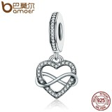 Toko Bamoer Scc261 Genuine 925 Sterling Silver Endless Love Infinity Heart Dangle Beads Fit Charm Bracelet For Women Diy Jewelry S925 Intl Di Tiongkok