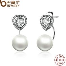 BAMOER SCE003 Fine Jewelry Authentic 925 Sterling Silver Heart and Pearls Female Drop Earrings Jewelry Earrings