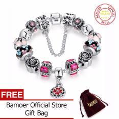 BAMOER Silver Kaca Asli Bead Gelang untuk Wanita dengan Rantai Pengaman Berlian Imitasi Strand Pulseras Mewah Bijoux PA1836