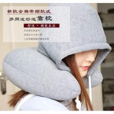 Promo Bantal Leher Memory Foam Dengan Hoody Gray Universal Terbaru