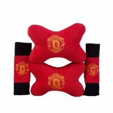 Bantal Mobil 2 in 1 / Bantal Leher / Car Set 2in1 - Manchester United / MU