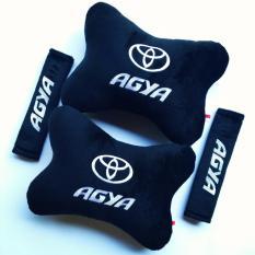 Bantal Mobil 2 in 1 - Toyota Agya (Hitam) Bordir Putih