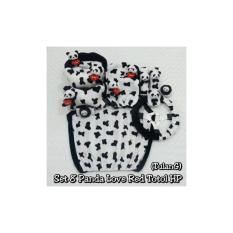 Bantal Mobil / Sarung Jok 8 In 1 Boneka PANDA LOVE RED Motif