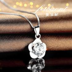 S925 Sterling Perak Berlapis Putih Emas atau Perak Bertatah Berlian Liontin Kalung Klavikula