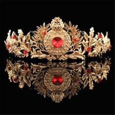 Daftar Harga Baroque Emas Bridal Kristal Pegeant Prom Tiara Crown Headband Rambut Aksesoris Emas Intl Not Specified