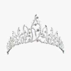 Baroque Mahkota Berlian Imitasi Pengantin Hiasan Kepala Pernikahan Rambut Aksesori Bando Hadiah-Intl