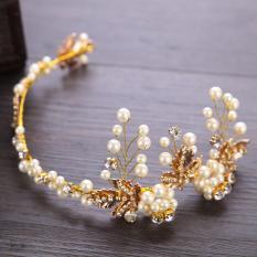 Gaya Barok Kristal Mutiara Pernikahan Tiara Mahkota Berlian Buatan Emas Kabel Ikat Kepala Rambut Perhiasan Rambut