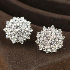 Baru Kecil Bunga Hias Putih Berlian Telinga Gesper Anting