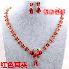 Diskon Batu Kristal Air Menikah Gaun Pengantin Perhiasan Set Kalung Kupu Kupu Kalung Tiongkok