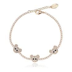 Bear Link Rantai untuk Wanita dan Remaja Perempuan Adjustable Tag Charm Bracelet-Intl