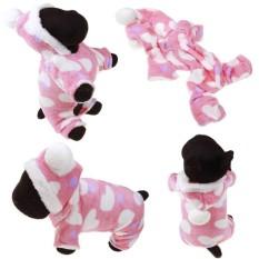 Beau Anjing Yang Dicintai Hooded Sweatshirt Pink Heart Print Cotton Hooded Hewan Peliharaan Puppy Mantel XL-Intl