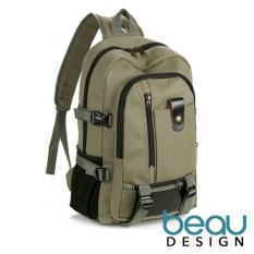 BEAU Tas Ransel Wanita Pria Batam Branded Model Terbaru Import Laptop Canvas Leather Backpack