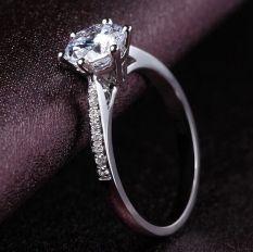 Beberapa 18 K Berlapis Platinum Menikah Cincin Pasangan Miniatur Cincin Berlian