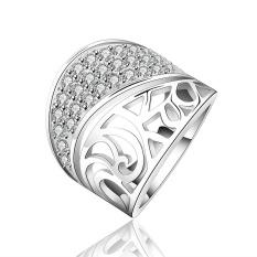 Bella & Co Popular Anniversary Ring SVR139-8 White Gold Plated Aksesoris Perhiasan Cincin