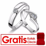 Kualitas Bella Co Vega Star Couple Ring Cincin Tunangan Cincin Pernikahan Silver 925 Lapis Emas 18K Bella Co