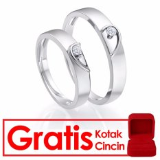Bella & Co ANGEL HEART Couple Ring Cincin Tunangan Cincin Pernikahan Silver 925 Lapis Emas 18K