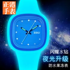 Bercahaya Silikon Remaja Siswa Kuarsa Jam Jam Tangan  jam tangan wanita